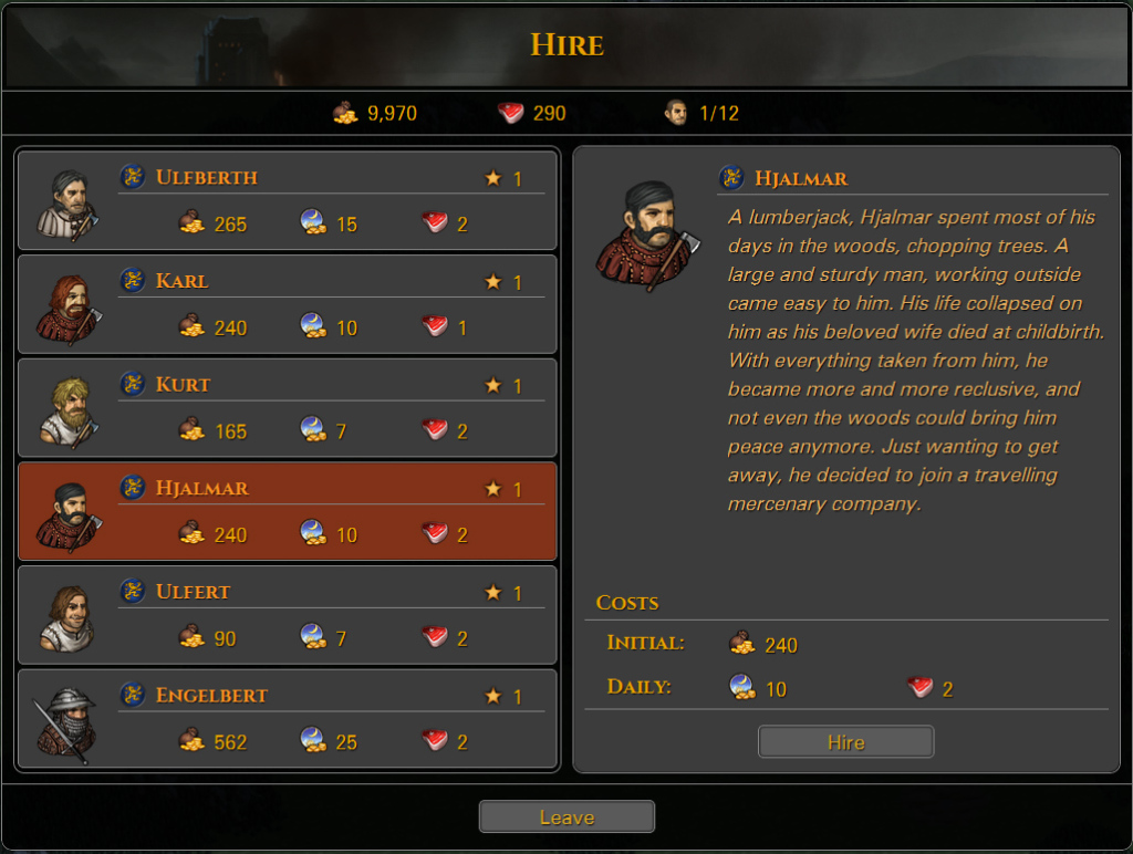 battle brothers hiring screen