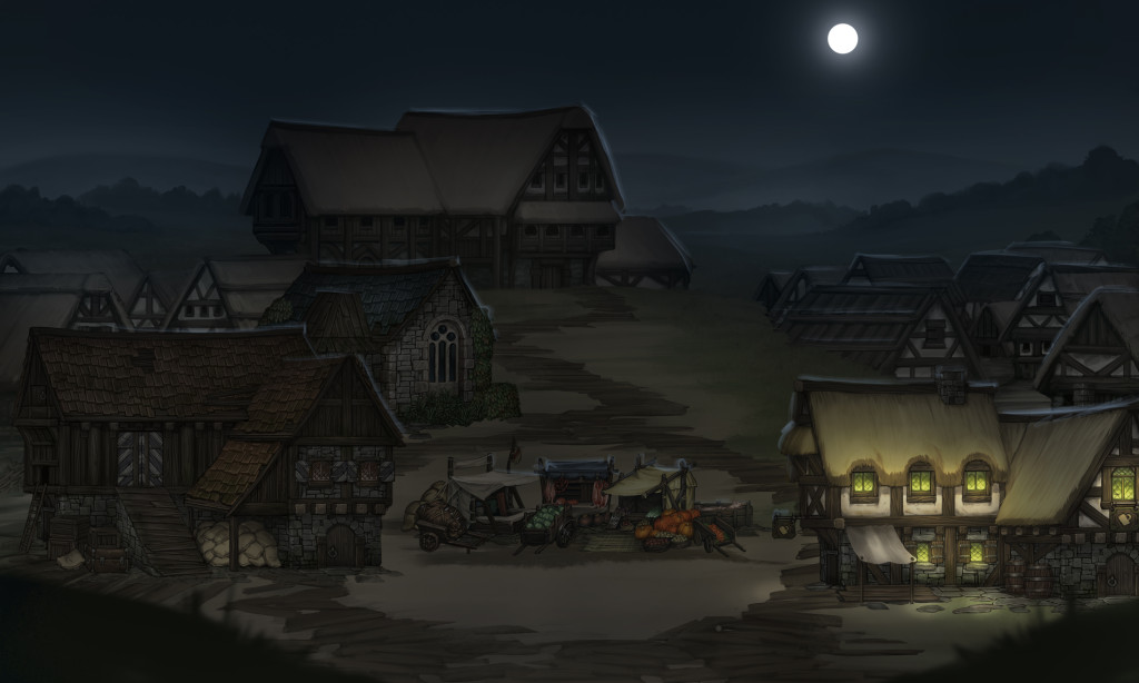 city nighttime grasslands tavern