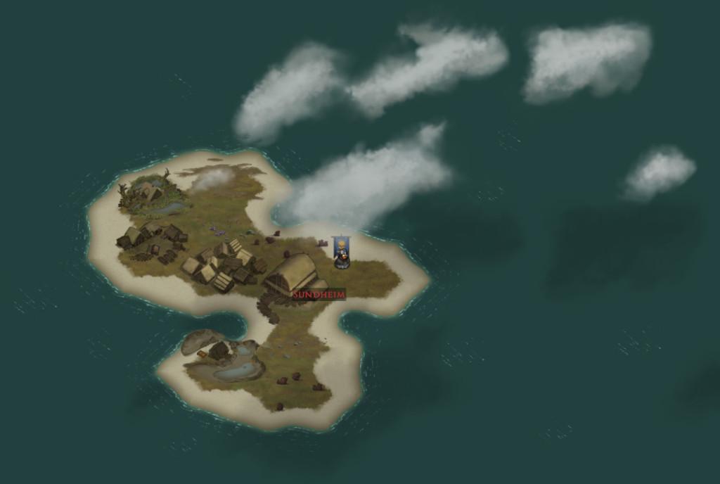 eine Insel mit zwei Bergen