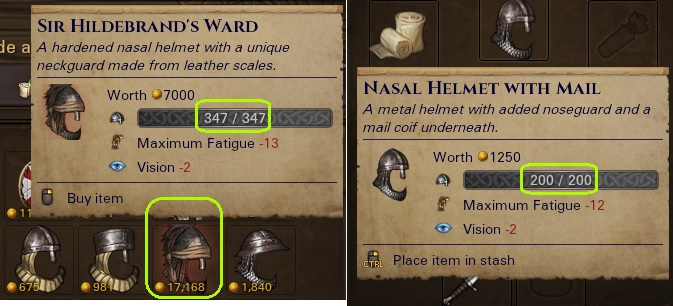 Nasal helm with 347 condition points and only +1 additional fatigue