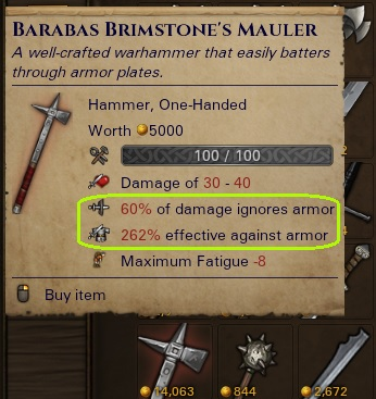 Warhammer with 262% effectiveness against armour and 60% of damage ignoring it