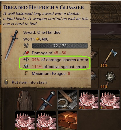 Named sword with 112% effectiveness against armour and 34% of damage ignoring armour