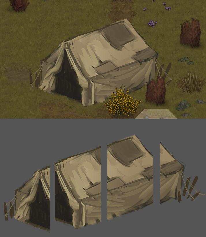 Tent cut